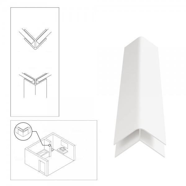 PVC External Corner Trim for Shower Aqua Wall Panel Cladding 5mm/10mm - Multipanel Aquabord Corner Trim White Chrome Silver