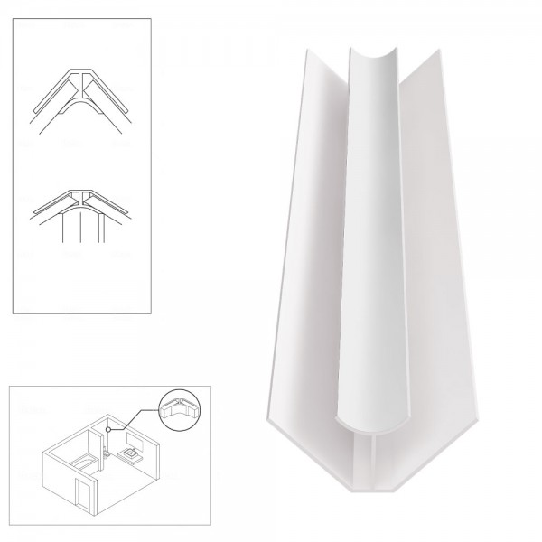 PVC Internal Corner Trim for Shower Aqua Wall Panel Cladding 5mm/10mm - Multipanel Aquabord Corner Trim White Chrome Silver